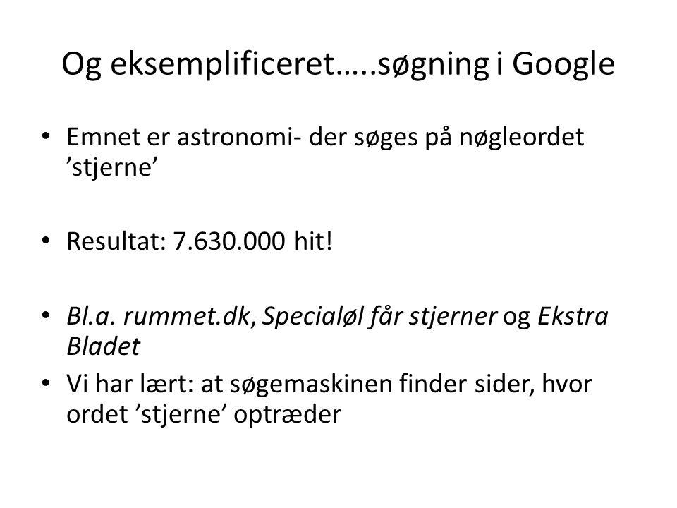 Og eksemplificeret…..søgning i Google Emnet er astronomi- der søges på nøgleordet 'stjerne' Resultat: 7.630.000 hit.