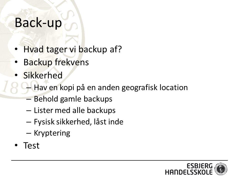 Back-up Hvad tager vi backup af.