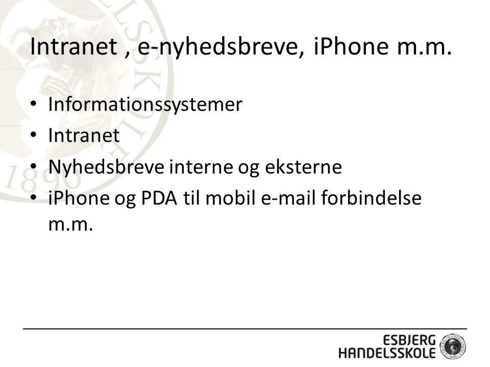 Intranet, e-nyhedsbreve, iPhone m.m.