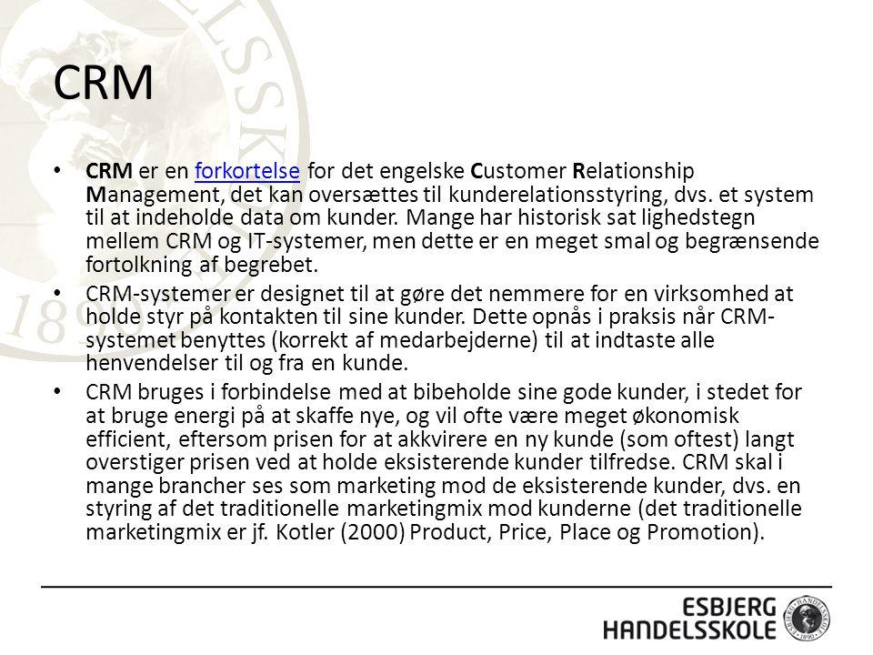 CRM CRM er en forkortelse for det engelske Customer Relationship Management, det kan oversættes til kunderelationsstyring, dvs.