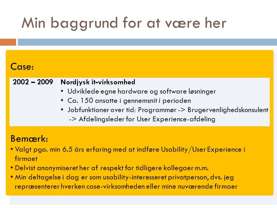 Min baggrund for at være her 1996 – 2002Aalborg universitet Uddannet datalog med speciale i brugervenlighed 2002 – 2009Nordjysk it-virksomhed Udviklede egne hardware og software løsninger Ca.