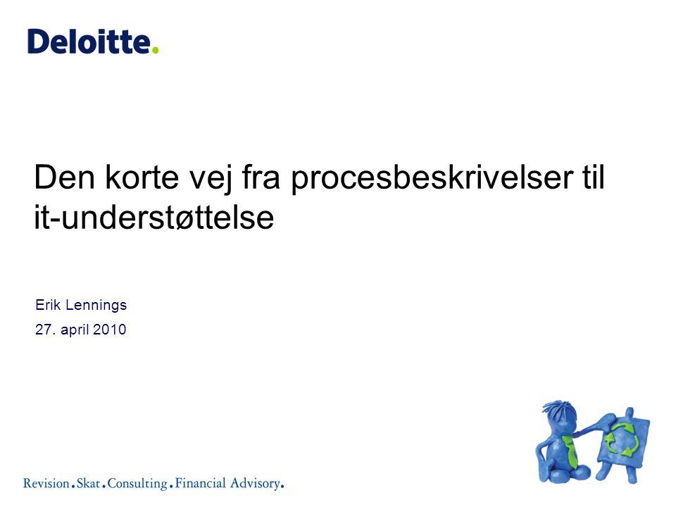 Erik Lennings 27. april 2010 Den korte vej fra procesbeskrivelser til it-understøttelse