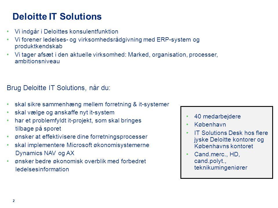 2 Deloitte IT Solutions Vi indgår i Deloittes konsulentfunktion Vi forener ledelses- og virksomhedsrådgivning med ERP-system og produktkendskab Vi tager afsæt i den aktuelle virksomhed: Marked, organisation, processer, ambitionsniveau Brug Deloitte IT Solutions, når du: skal sikre sammenhæng mellem forretning & it-systemer skal vælge og anskaffe nyt it-system har et problemfyldt it-projekt, som skal bringes tilbage på sporet ønsker at effektivisere dine forretningsprocesser skal implementere Microsoft økonomisystemerne Dynamics NAV og AX ønsker bedre økonomisk overblik med forbedret ledelsesinformation 40 medarbejdere København IT Solutions Desk hos flere jyske Deloitte kontorer og Københavns kontoret Cand.merc., HD, cand.polyt., teknikumingeniører