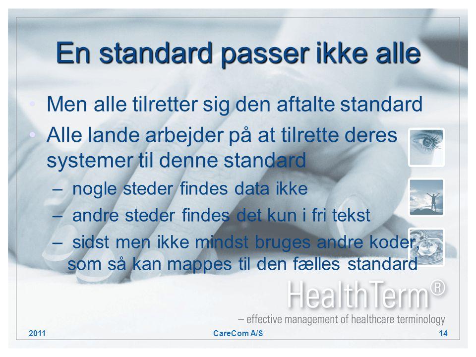 En standard passer ikke alle Men alle tilretter sig den aftalte standard Alle lande arbejder på at tilrette deres systemer til denne standard – nogle steder findes data ikke – andre steder findes det kun i fri tekst – sidst men ikke mindst bruges andre koder, som så kan mappes til den fælles standard 2011CareCom A/S14