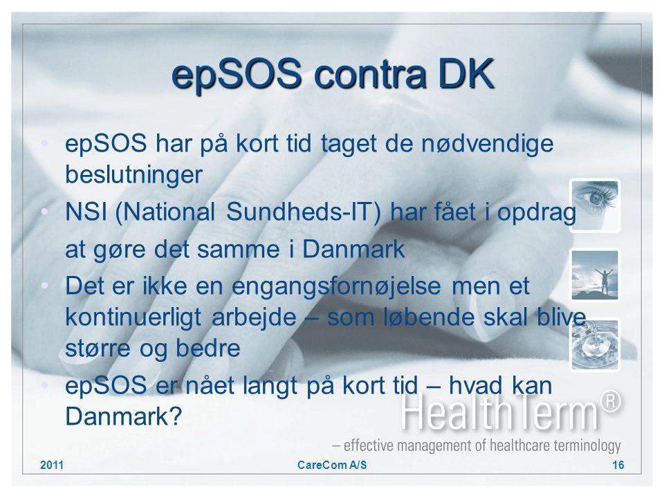 epSOS contra DK epSOS har på kort tid taget de nødvendige beslutninger NSI (National Sundheds-IT) har fået i opdrag at gøre det samme i Danmark Det er ikke en engangsfornøjelse men et kontinuerligt arbejde – som løbende skal blive større og bedre epSOS er nået langt på kort tid – hvad kan Danmark.