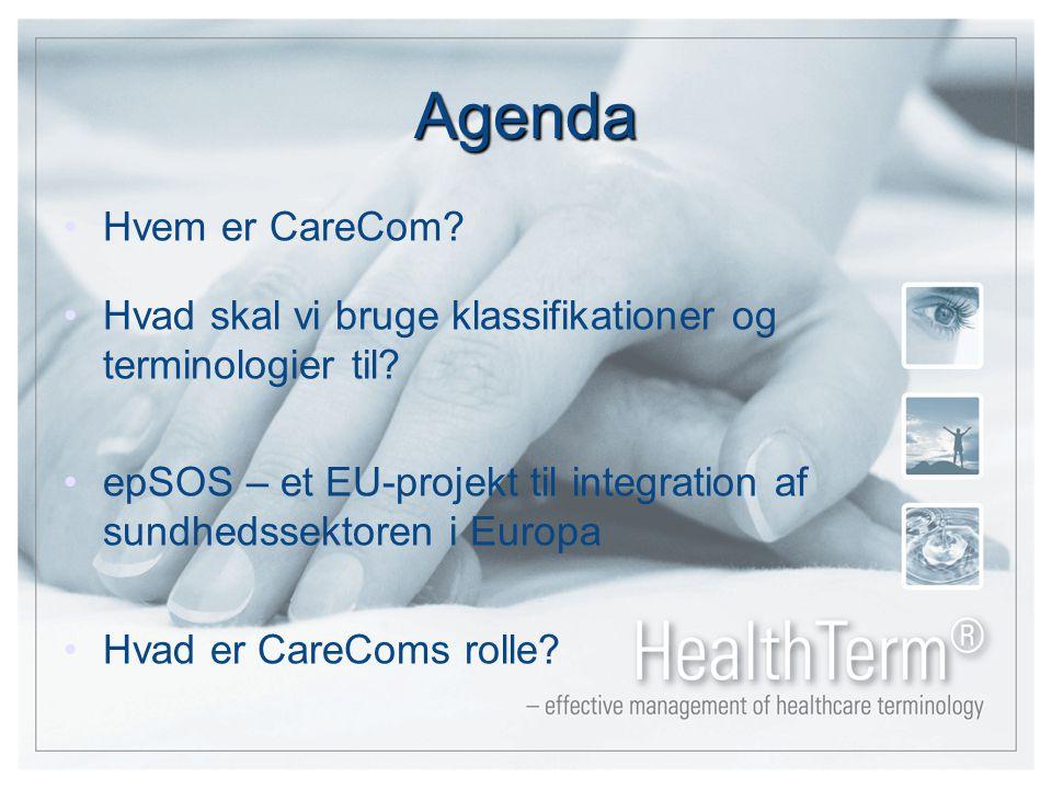 Agenda Hvem er CareCom. Hvad skal vi bruge klassifikationer og terminologier til.