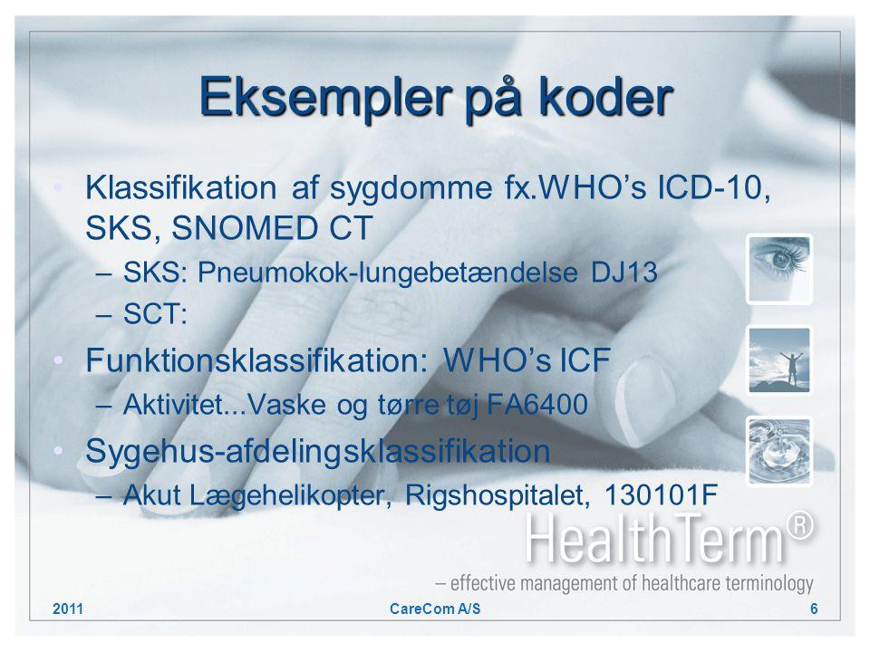 Eksempler på koder Klassifikation af sygdomme fx.WHO's ICD-10, SKS, SNOMED CT –SKS: Pneumokok-lungebetændelse DJ13 –SCT: Funktionsklassifikation: WHO's ICF –Aktivitet...Vaske og tørre tøj FA6400 Sygehus-afdelingsklassifikation –Akut Lægehelikopter, Rigshospitalet, 130101F 2011CareCom A/S6