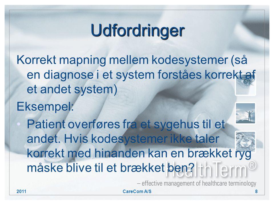 Udfordringer Korrekt mapning mellem kodesystemer (så en diagnose i et system forståes korrekt af et andet system) Eksempel: Patient overføres fra et sygehus til et andet.