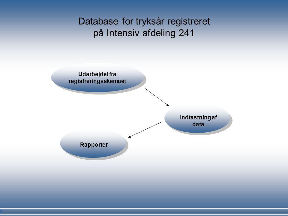 Database for tryksår registreret på Intensiv afdeling 241 Udarbejdet fra registreringsskemaet Indtastning af data Rapporter