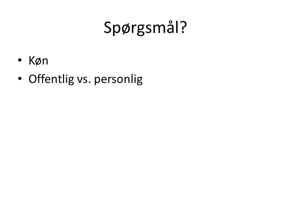 Spørgsmål Køn Offentlig vs. personlig