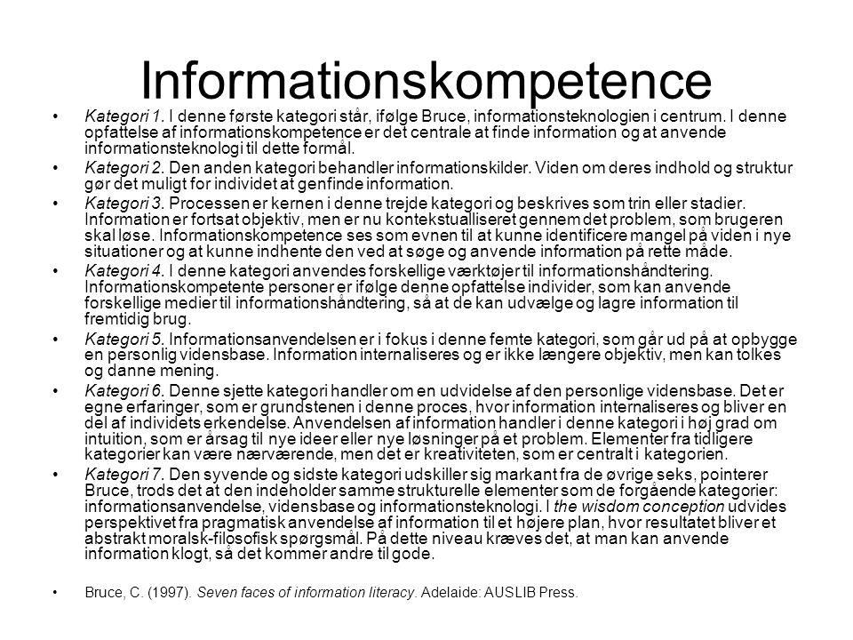 Informationskompetence Kategori 1.