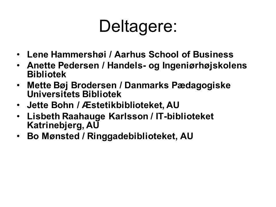 Deltagere: Lene Hammershøi / Aarhus School of Business Anette Pedersen / Handels- og Ingeniørhøjskolens Bibliotek Mette Bøj Brodersen / Danmarks Pædagogiske Universitets Bibliotek Jette Bohn / Æstetikbiblioteket, AU Lisbeth Raahauge Karlsson / IT-biblioteket Katrinebjerg, AU Bo Mønsted / Ringgadebiblioteket, AU