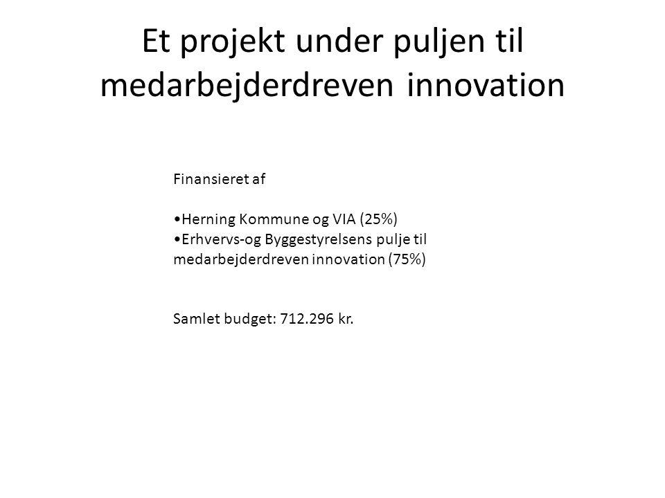 Et projekt under puljen til medarbejderdreven innovation Finansieret af Herning Kommune og VIA (25%) Erhvervs-og Byggestyrelsens pulje til medarbejderdreven innovation (75%) Samlet budget: 712.296 kr.