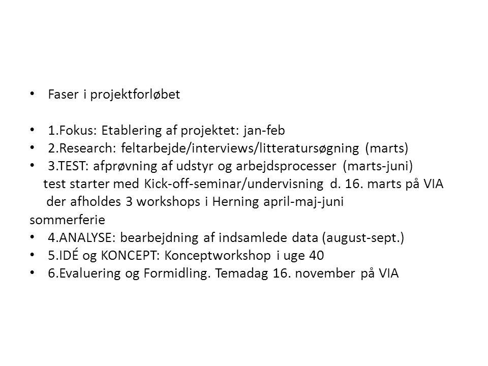 Faser i projektforløbet 1.Fokus: Etablering af projektet: jan-feb 2.Research: feltarbejde/interviews/litteratursøgning (marts) 3.TEST: afprøvning af udstyr og arbejdsprocesser (marts-juni) test starter med Kick-off-seminar/undervisning d.