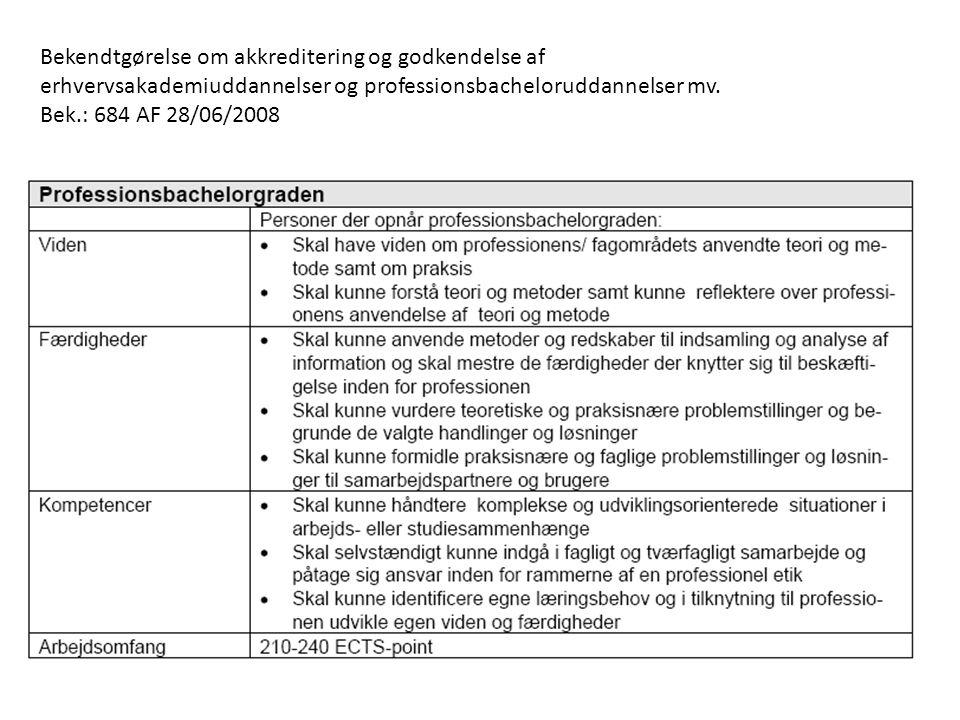 Bekendtgørelse om akkreditering og godkendelse af erhvervsakademiuddannelser og professionsbacheloruddannelser mv.