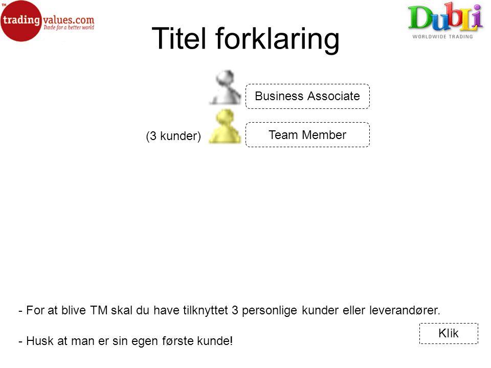 Titel forklaring - For at blive TM skal du have tilknyttet 3 personlige kunder eller leverandører.