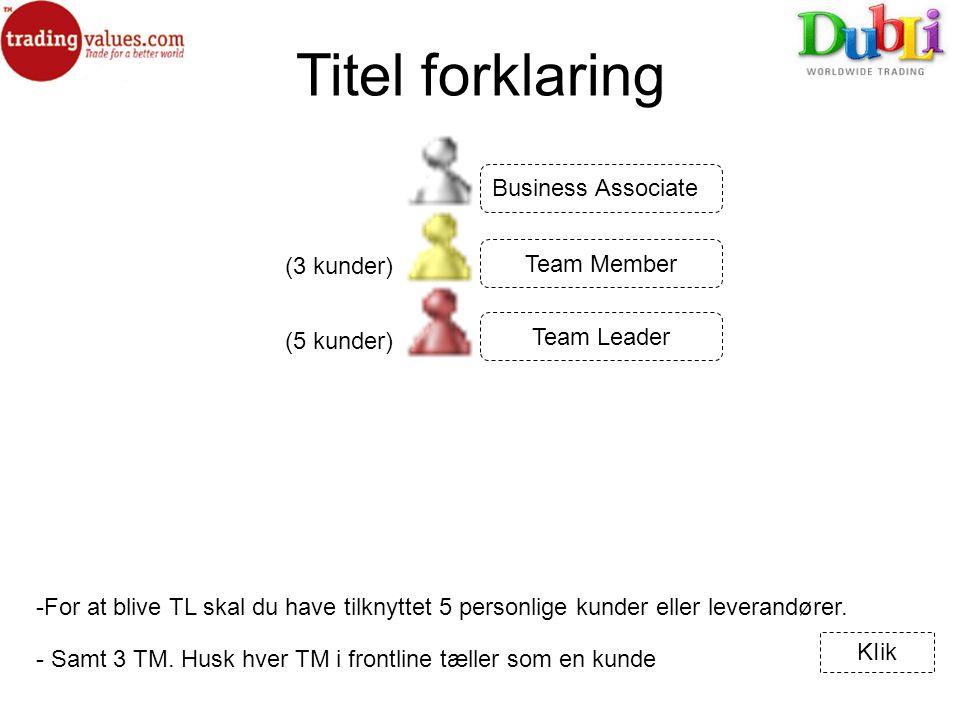 Titel forklaring (3 kunder) -For at blive TL skal du have tilknyttet 5 personlige kunder eller leverandører.