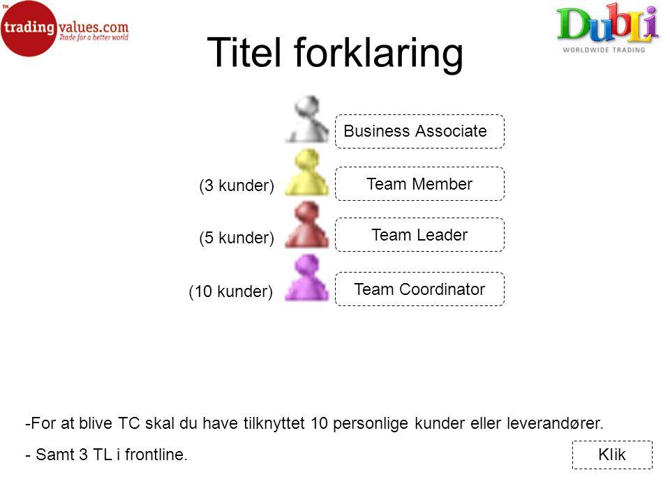 Titel forklaring (3 kunder) -For at blive TC skal du have tilknyttet 10 personlige kunder eller leverandører.