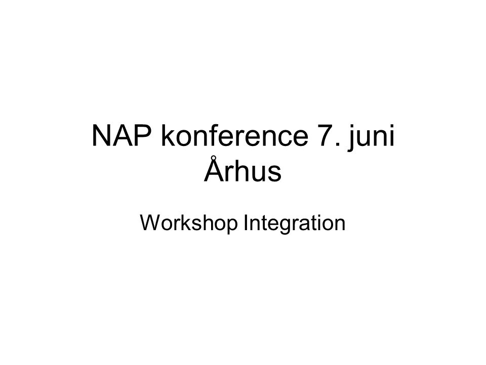 NAP konference 7. juni Århus Workshop Integration