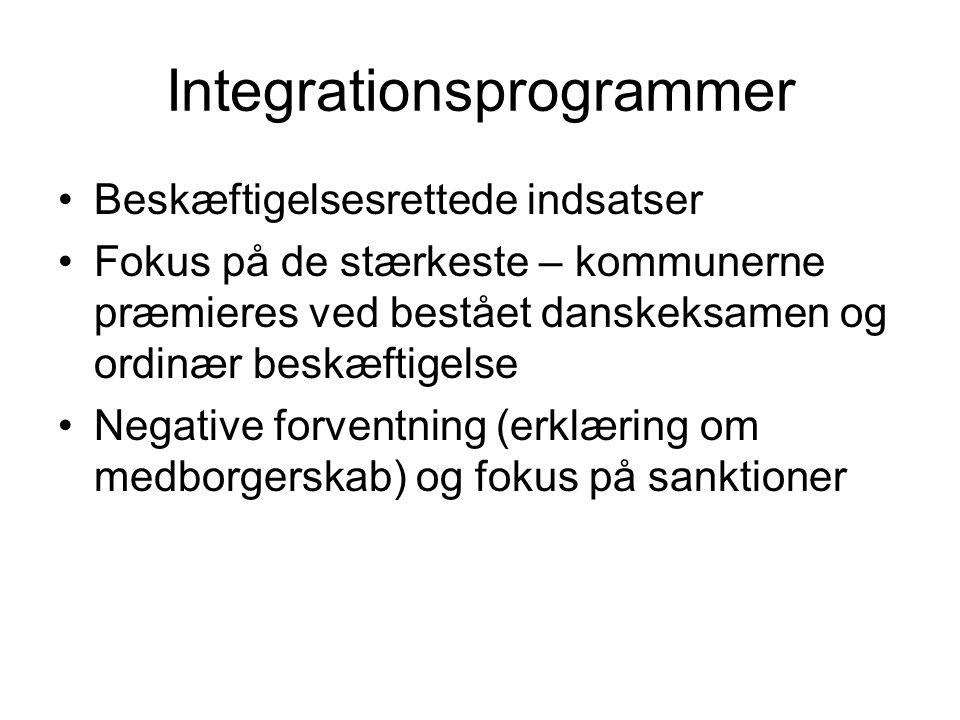 Integrationsprogrammer Beskæftigelsesrettede indsatser Fokus på de stærkeste – kommunerne præmieres ved bestået danskeksamen og ordinær beskæftigelse Negative forventning (erklæring om medborgerskab) og fokus på sanktioner