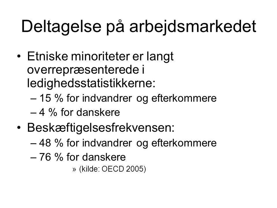 Deltagelse på arbejdsmarkedet Etniske minoriteter er langt overrepræsenterede i ledighedsstatistikkerne: –15 % for indvandrer og efterkommere –4 % for danskere Beskæftigelsesfrekvensen: –48 % for indvandrer og efterkommere –76 % for danskere »(kilde: OECD 2005)
