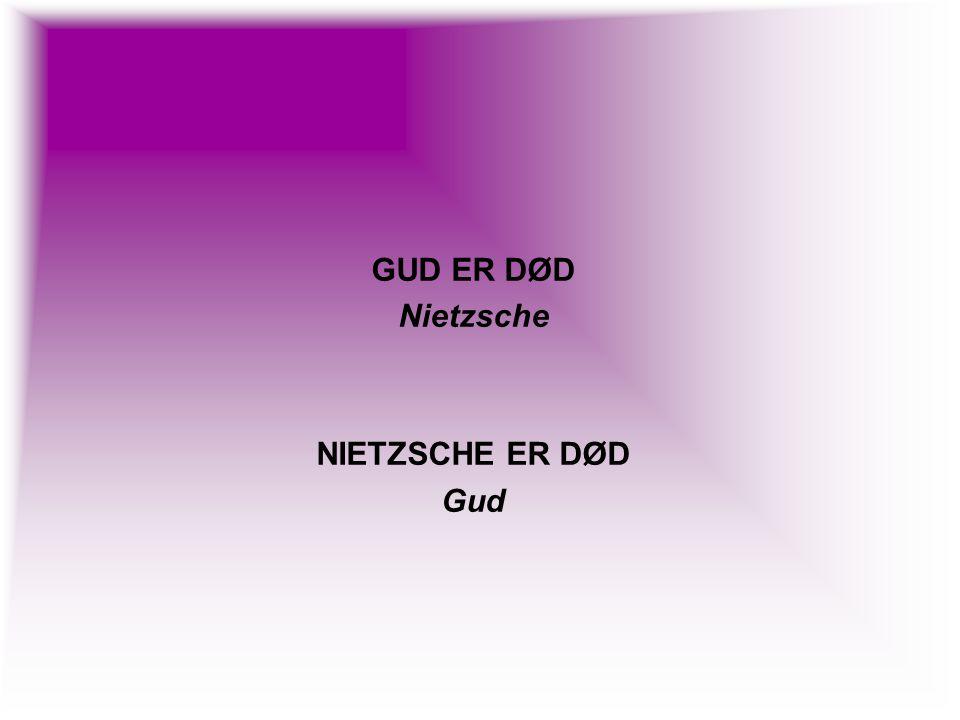 GUD ER DØD Nietzsche NIETZSCHE ER DØD Gud