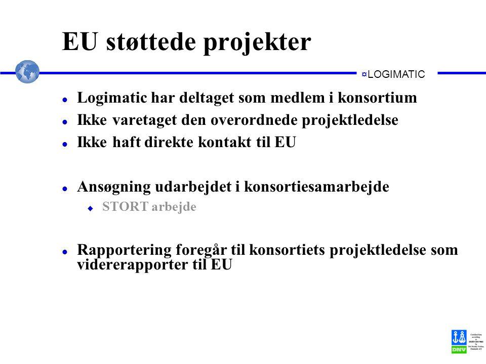 ¤LOGIMATIC EU støttede projekter l Logimatic har deltaget som medlem i konsortium l Ikke varetaget den overordnede projektledelse l Ikke haft direkte kontakt til EU l Ansøgning udarbejdet i konsortiesamarbejde u STORT arbejde l Rapportering foregår til konsortiets projektledelse som vidererapporter til EU