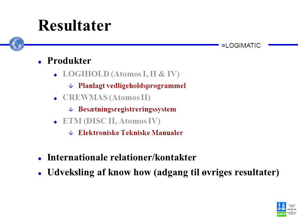 ¤LOGIMATIC Resultater l Produkter u LOGIHOLD (Atomos I, II & IV) â Planlagt vedligeholdsprogrammel u CREWMAS (Atomos II) â Besætningsregistreringssystem u ETM (DISC II, Atomos IV) â Elektroniske Tekniske Manualer l Internationale relationer/kontakter l Udveksling af know how (adgang til øvriges resultater)