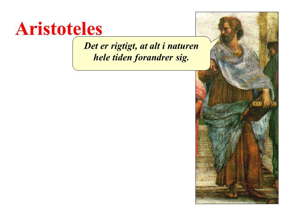 Aristoteles Det er rigtigt, at alt i naturen hele tiden forandrer sig.