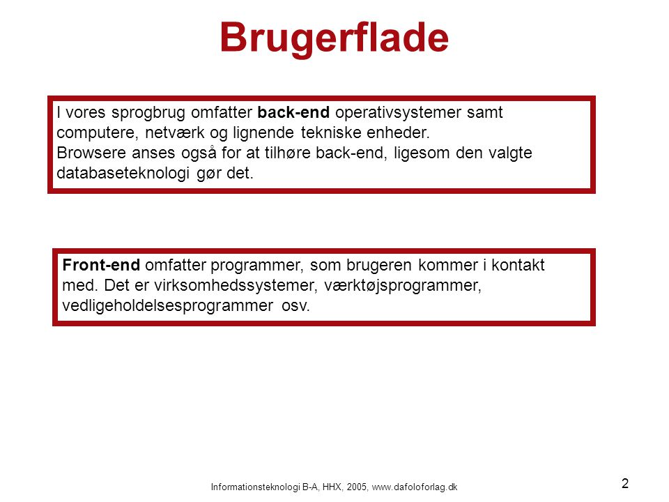 Informationsteknologi B-A, HHX, 2005, www.dafoloforlag.dk 2 Brugerflade I vores sprogbrug omfatter back-end operativsystemer samt computere, netværk og lignende tekniske enheder.
