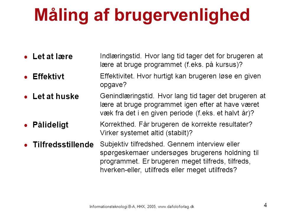 Informationsteknologi B-A, HHX, 2005, www.dafoloforlag.dk 4 Måling af brugervenlighed  Let at lære Indlæringstid.
