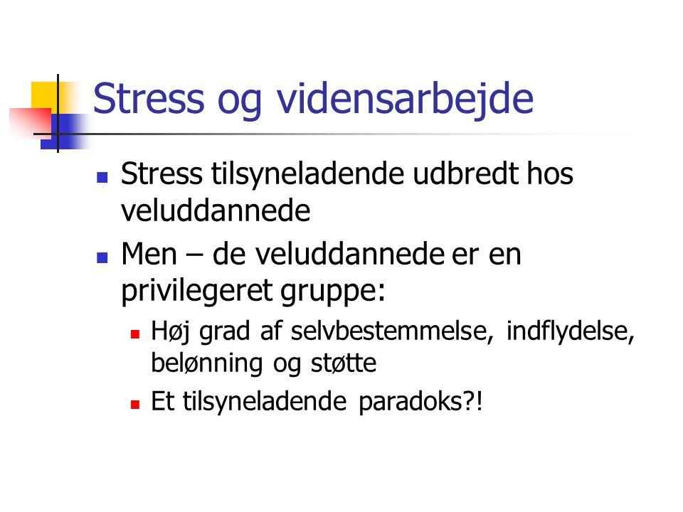 Stress og vidensarbejde Stress tilsyneladende udbredt hos veluddannede Men – de veluddannede er en privilegeret gruppe: Høj grad af selvbestemmelse, indflydelse, belønning og støtte Et tilsyneladende paradoks !