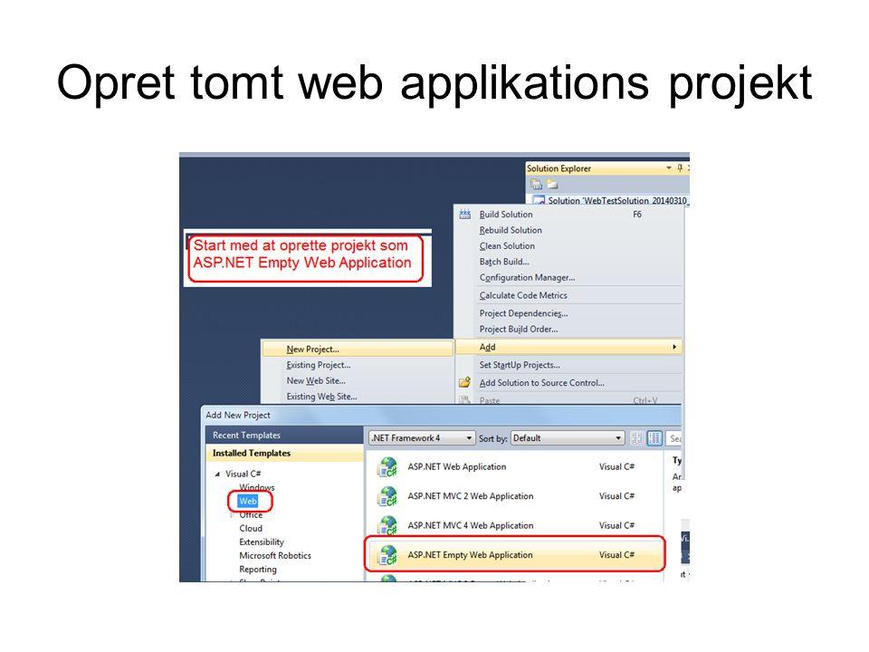 Opret tomt web applikations projekt