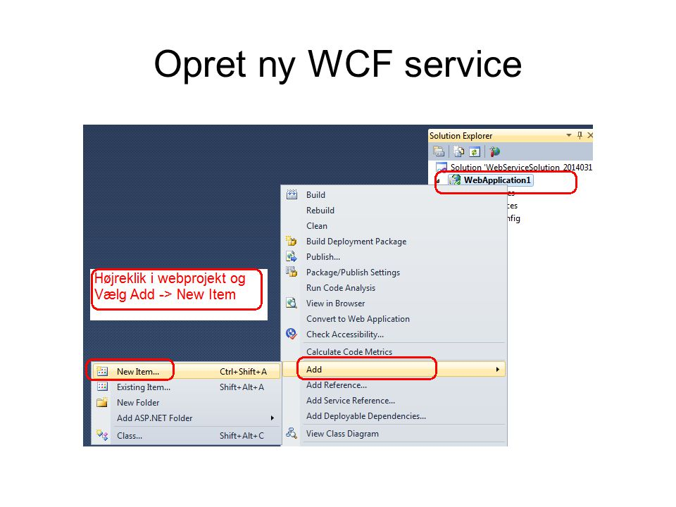 Opret ny WCF service