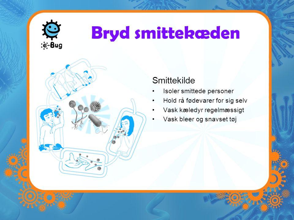 Bryd smittekæden Smittekilde Isoler smittede personer Hold rå fødevarer for sig selv Vask kæledyr regelmæssigt Vask bleer og snavset tøj