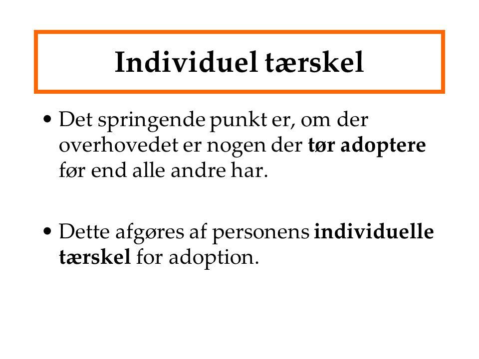 Individuel tærskel Det springende punkt er, om der overhovedet er nogen der tør adoptere før end alle andre har.