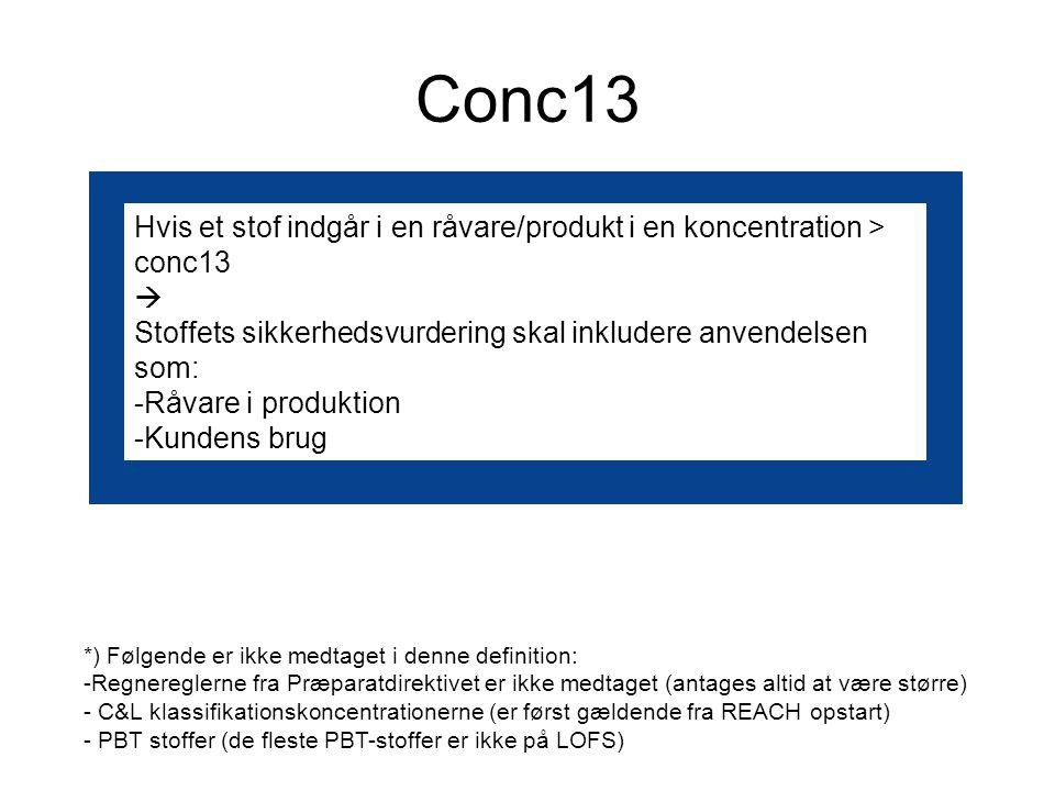 Conc13 Hvis et stof indgår i en råvare/produkt i en koncentration > conc13  Stoffets sikkerhedsvurdering skal inkludere anvendelsen som: -Råvare i produktion -Kundens brug *) Følgende er ikke medtaget i denne definition: -Regnereglerne fra Præparatdirektivet er ikke medtaget (antages altid at være større) - C&L klassifikationskoncentrationerne (er først gældende fra REACH opstart) - PBT stoffer (de fleste PBT-stoffer er ikke på LOFS)