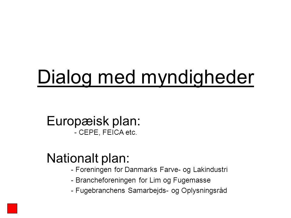 Dialog med myndigheder Europæisk plan: Nationalt plan: - Foreningen for Danmarks Farve- og Lakindustri - Brancheforeningen for Lim og Fugemasse - Fugebranchens Samarbejds- og Oplysningsråd - CEPE, FEICA etc.