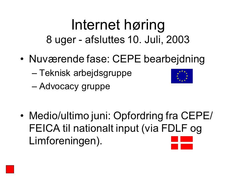 Internet høring 8 uger - afsluttes 10.
