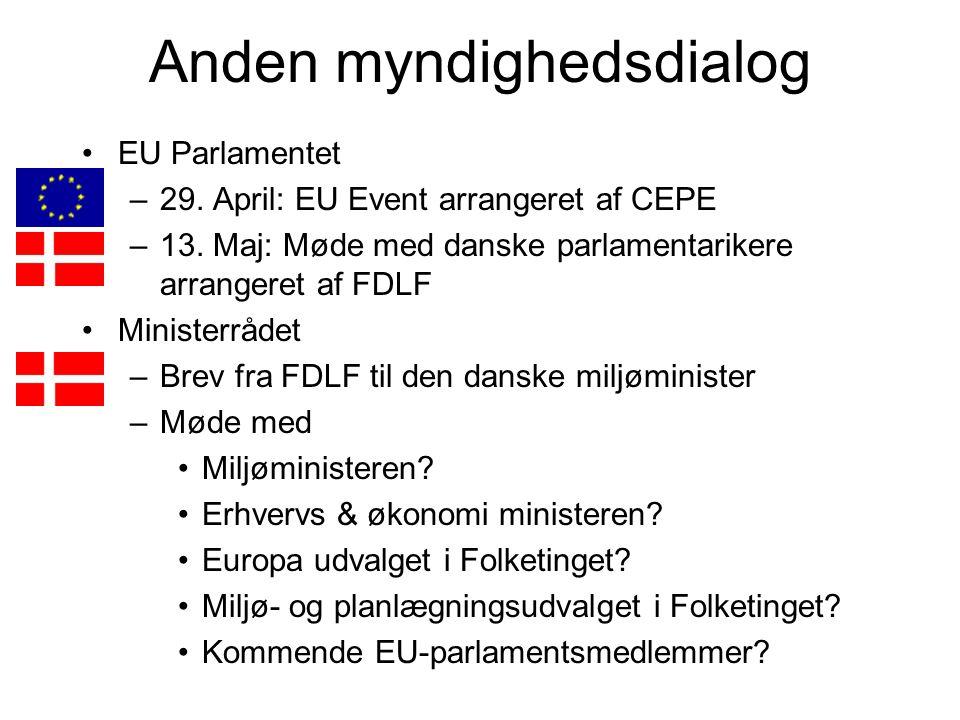 Anden myndighedsdialog EU Parlamentet –29. April: EU Event arrangeret af CEPE –13.