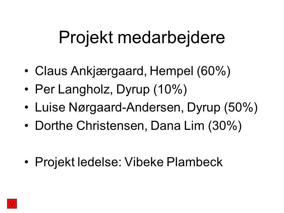 Projekt medarbejdere Claus Ankjærgaard, Hempel (60%) Per Langholz, Dyrup (10%) Luise Nørgaard-Andersen, Dyrup (50%) Dorthe Christensen, Dana Lim (30%) Projekt ledelse: Vibeke Plambeck V