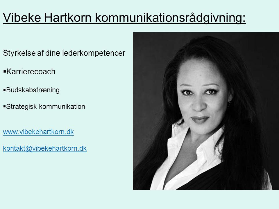Styrkelse af dine lederkompetencer  Karrierecoach  Budskabstræning  Strategisk kommunikation www.vibekehartkorn.dk kontakt@vibekehartkorn.dk Vibeke Hartkorn kommunikationsrådgivning: