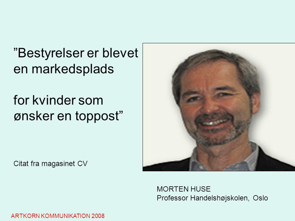 MORTEN HUSE Professor Handelshøjskolen, Oslo Bestyrelser er blevet en markedsplads for kvinder som ønsker en toppost Citat fra magasinet CV ARTKORN KOMMUNIKATION 2008