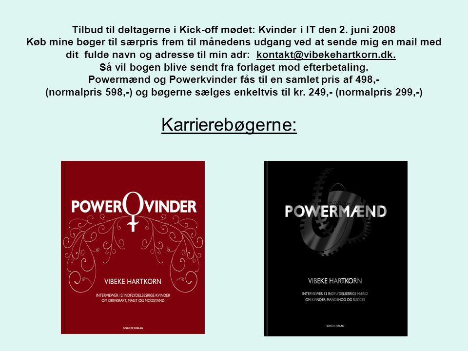 Karrierebøgerne: Tilbud til deltagerne i Kick-off mødet: Kvinder i IT den 2.