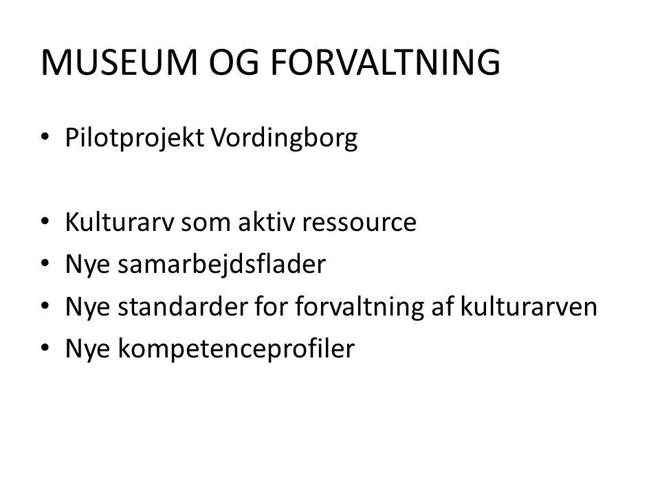 MUSEUM OG FORVALTNING Pilotprojekt Vordingborg Kulturarv som aktiv ressource Nye samarbejdsflader Nye standarder for forvaltning af kulturarven Nye kompetenceprofiler