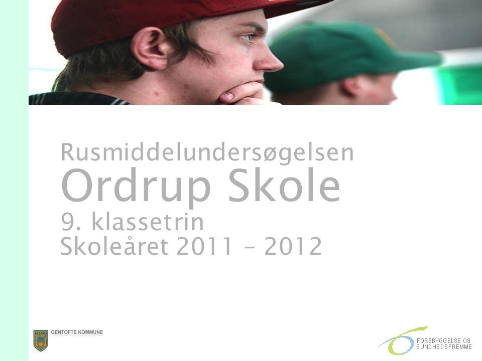 Rusmiddelundersøgelsen Ordrup Skole 9. klassetrin Skoleåret 2011 – 2012