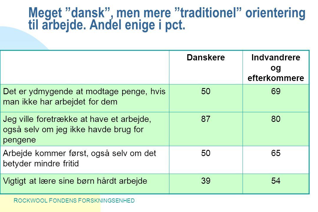 R OCKWOOL F ONDENS F ORSKNINGSENHED Meget dansk , men mere traditionel orientering til arbejde.