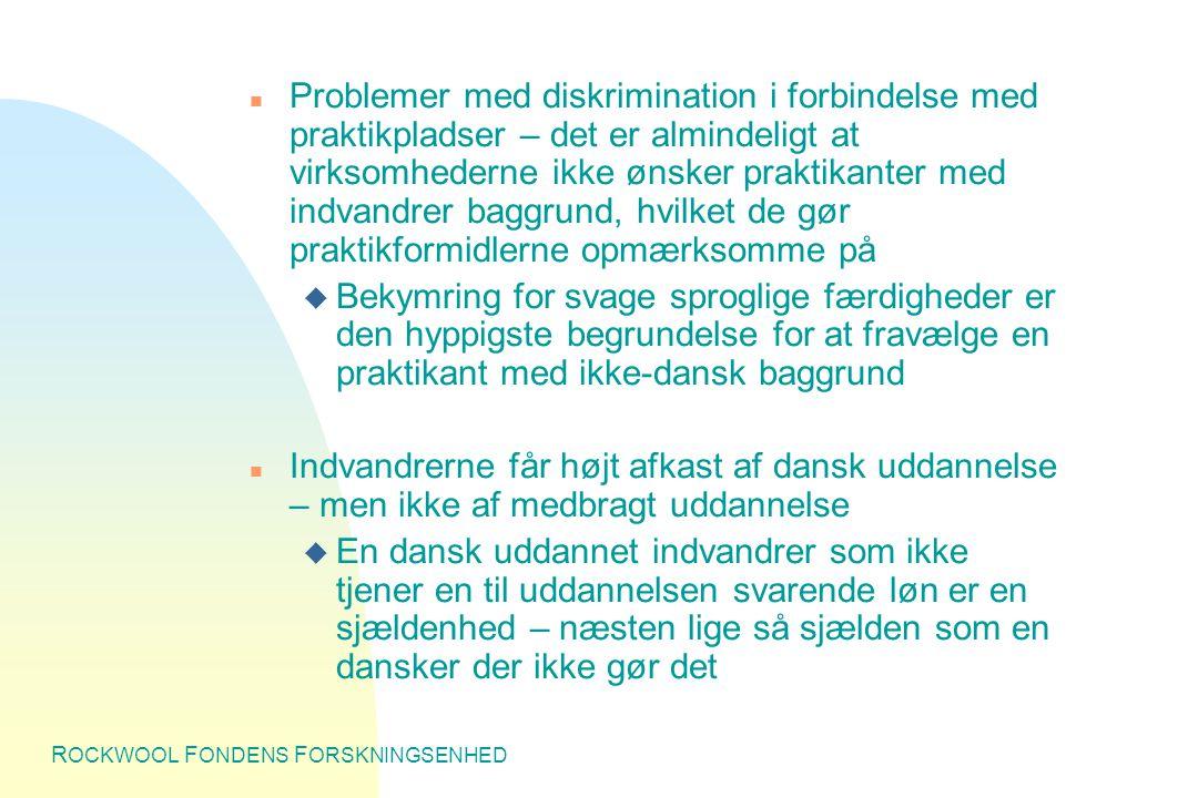R OCKWOOL F ONDENS F ORSKNINGSENHED n Problemer med diskrimination i forbindelse med praktikpladser – det er almindeligt at virksomhederne ikke ønsker praktikanter med indvandrer baggrund, hvilket de gør praktikformidlerne opmærksomme på u Bekymring for svage sproglige færdigheder er den hyppigste begrundelse for at fravælge en praktikant med ikke-dansk baggrund n Indvandrerne får højt afkast af dansk uddannelse – men ikke af medbragt uddannelse u En dansk uddannet indvandrer som ikke tjener en til uddannelsen svarende løn er en sjældenhed – næsten lige så sjælden som en dansker der ikke gør det
