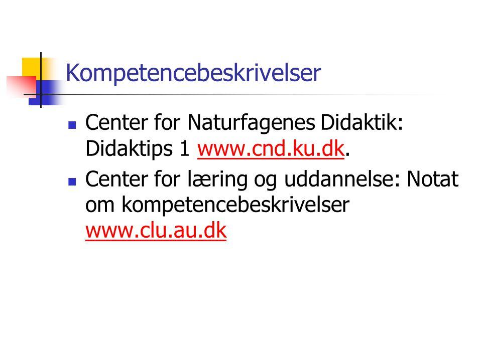 Kompetencebeskrivelser Center for Naturfagenes Didaktik: Didaktips 1 www.cnd.ku.dk.www.cnd.ku.dk Center for læring og uddannelse: Notat om kompetencebeskrivelser www.clu.au.dk www.clu.au.dk