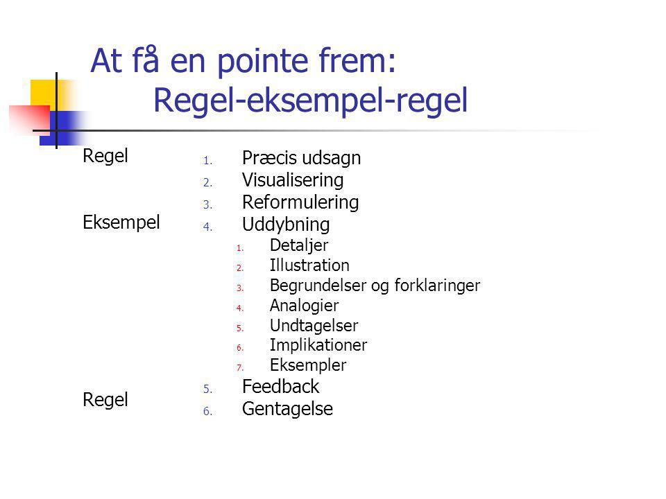 At få en pointe frem: Regel-eksempel-regel Regel Eksempel Regel 1.